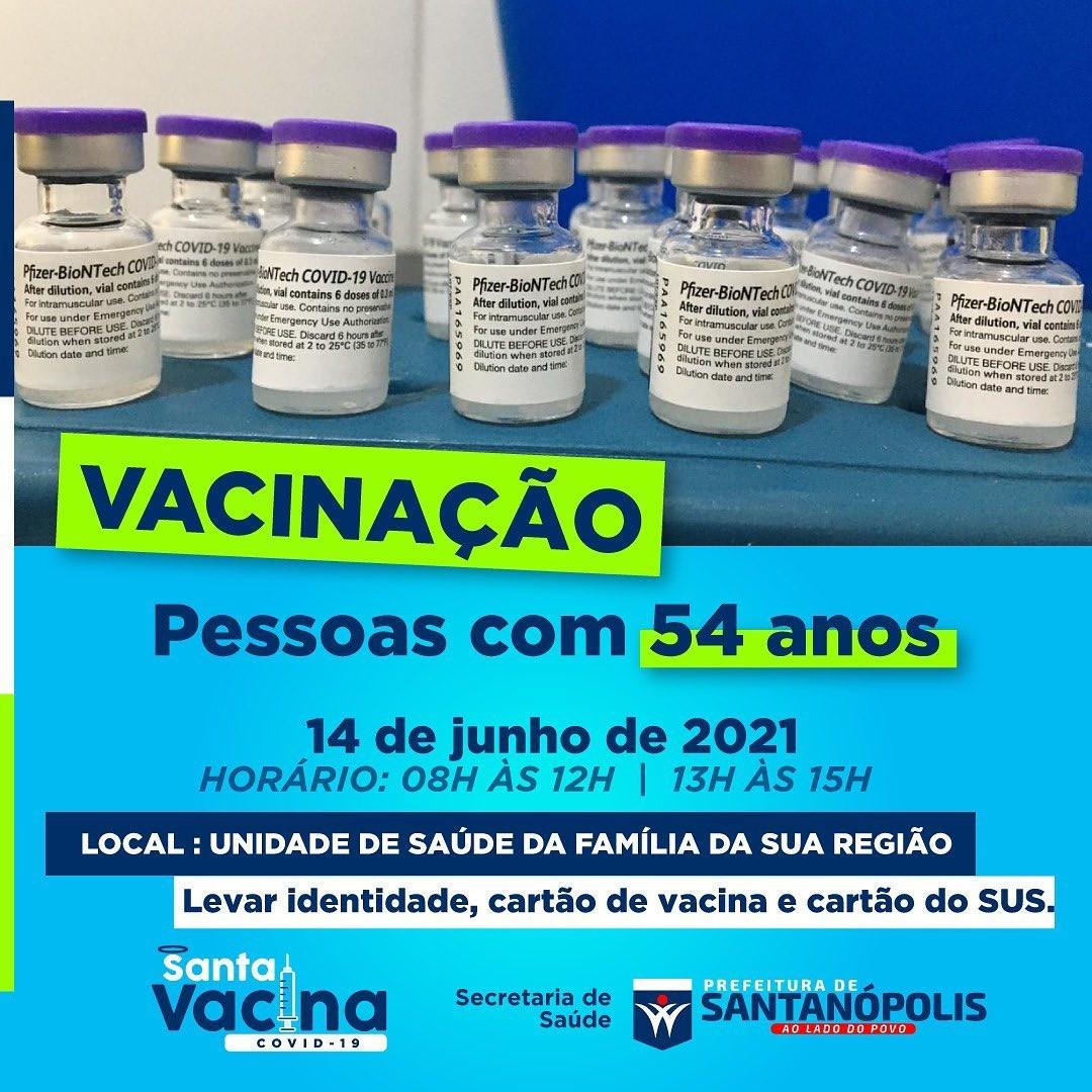 Vacinação coronavírus para pessoas com 54 anos